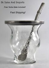 Yerba Mate Thick Glass Cup / clear mate gourd with rim. Free Yerba Mate Included