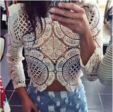 Women Sexy Size Zipper Lace Hollow Pullover Long Sleeve T-Shirt Top Blouses