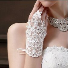 New White/Ivory Bridal Gloves Wedding Accessory Lace Sexy Fingerless Gloves