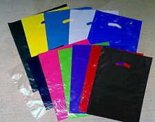 100 9x12 Small Plastic Handle Merchandise Party Favor Gift Bags Assorted Colors