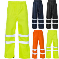 HI VIS VISIBILITY VIZ OVER TROUSERS REFELECTIVE SAFETY WORK WEAR WATERPROOF PANT