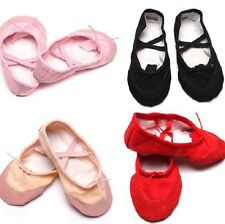 1Pair Kids Girls Ballet Dance Fitness Shoes Comfy Canvas Ballet Slipper Shoes W