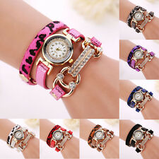 2015 Women Crystal Bracelet Watch Quartz Leopard Winding Wrap WristWatch Watch