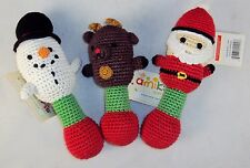 Hand Crocheted Baby Rattle ~ Choice Of Santa, Snowman, Or Reindeer ~ KidStyle