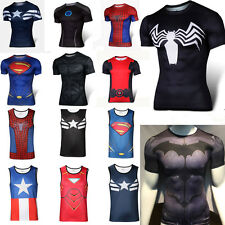 Mens Compression T Shirt Spandex Vest Under Base Layer Sports Wear Tops Tights