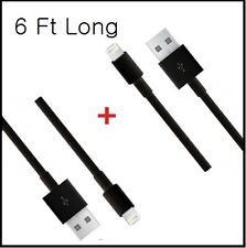 2X Extra Long 6 FT Black 8Pin USB Cable Power Cord for iPhone 6, 6 Plus, 5, 5S