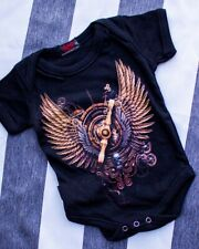 Spiral Clothing Steampunk Windup Onesie Romper Punk Alternative Black Baby Goth