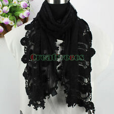 Delicate Embroidery Lace Butterfly/Flower Mesh  With Lace Tassels Oblong Scarf