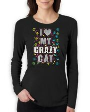 I Love My Crazy Cat Graphic Cool Kitty Lover funny Women Long Sleeve T-Shirt