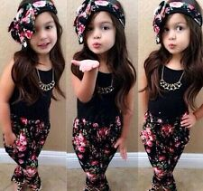 3pcs Toddler Infant Girls Outfits Headband+T-shirt+Floral Pants Kids Clothes Set