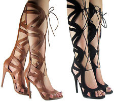 LADIES WOMEN HIGH HEEL UNDER THE KNEE LACE UP SUMMER LONG GLADIATOR SANDAL SIZE