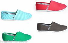 MENS ZAPATILLAS CASUAL SLIP ON CANVAS CASUAL SHOES WHITE BLACK BLUE RED STRIPE