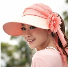 Women Lady Girl Wide Brim Flower Hat Summer Beach Sun Visor Cap Foldable Roll Up