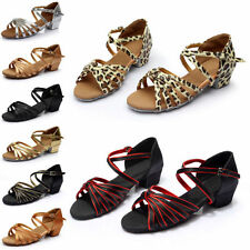 Women Ballroom Latin Cow Leather Soft Samba SALSA Tango High Heel Dance Shoes