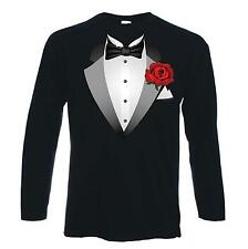 TUXEDO LONG SLEEVE T-SHIRT - Fancy Dress Stag Party Bachelor Tux -  Sizes S-2XL