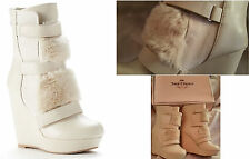 $100 JUICY COUTURE-Amica Faux Fur White Fashion Wedge Platform Boots Womens 8-9