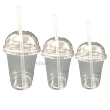 MILKSHAKE CUPS WITH DOMED LIDS AND STRAWS CLEAR PLASTIC TABLEWARE JUICE GLASS