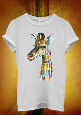 Giraffe Head Painting Colourful Men Women Unisex T Shirt Tank Top Vest 604