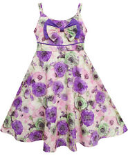 Sunny Fashion Girls Dress Sling Bow Tie Flower Princess Cotton Purple Size 3-10