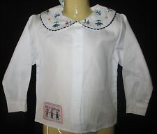 NWT Girls White Long Sleeve Shirt Blouse Top  Floral Collar AU 1 2 3 4 5 NEW #71