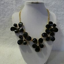 Bib Flowers Clear Rhinestones on Gold Metal Chain Necklace Extension Chain