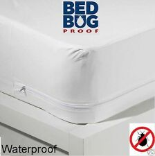 "Zippered Mattress Cover Vinyl Bed Bug Proof  Water Resistant 10"" Wide RL New"