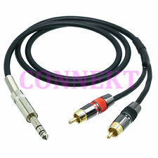 """6.35mm 1/4"""" stereo TRS plug to 2x RCA TS male plug PRO signal Y Cable L-4E6S"""