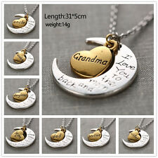 """Family """"I LOVE YOU TO THE MOON AND BACK"""" necklace pendant for Mom Dad Sister"""