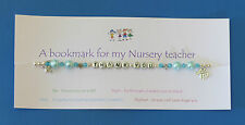 Nursery teacher gifts. Also Teacher, & Teaching assistant. Bookmark & thank you