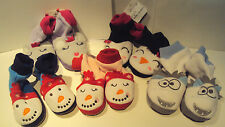 Toddler Boys Girls Jumping Beans Winter Snowman House Slippers Size 12-24  2T-4T