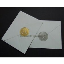 Select of Metallic SILVER or GOLD Envelope Seal HEART Wedding INVITATION Sticker