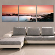 Ocean Sunset  Modern Canvas Art Print Set Of 3 Choice Of Size/Wall Clock