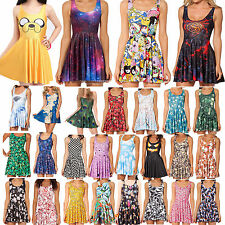Summer Beach Style Womens Ladies Club Party Floral Pleated Skater Dress Casual