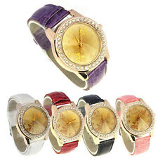 Women Butterfly Pattern Multi-faceted Leather Band Quartz Wrist Watch Ornate