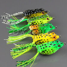 New Large Frog Topwater Fishing Lure Crankbait Hooks Bass Bait Tackle one