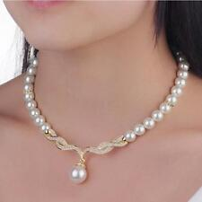 Swarovski Crystal Pearl Gold Sliver Bridal Necklace Earring Jewelery Set 3 pices