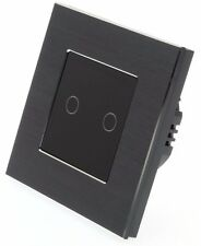 I LumoS Black Aluminium 2 Gang 1 Way Touch Glass Remote Dimmer LED Light Switch