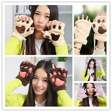 New Girl Bear's Paw Mitten Furry Fuzzy Thicking Warm Half Finger Gloves Mitts W