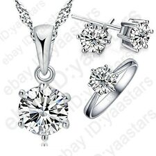 Classic 925 Sterling Silver Cubic Zircon Jewelry Gift Sets Necklace+Earring+Ring