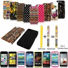 For Apple Samsung Sony Nokia Motorola Hybrid Hard Soft 2pc Combo Case Cover New