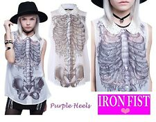 Iron Fist Creeper Peter Pan Pearl Skeleton Blouse ❤ Summer 15 Size L-XL UK12-14