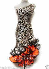 4 colors / Hot Latin salsa tango Cha cha Ballroom Dance Dress Leopard Dress S-2X