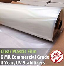 Clear Greenhouse Plastic Film 6 mil, 12 ft wide x Various Sizes