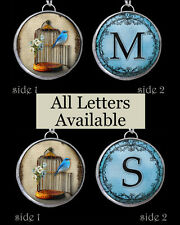 "Letters Initials Monogram Blue Bird Cage Necklace 1"" Silver Pewter Charm Pendant"