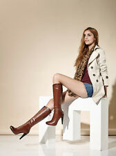 New Genuine Leather Rivet High-heeled Knee Boot Repair legs Brown Knight Boots