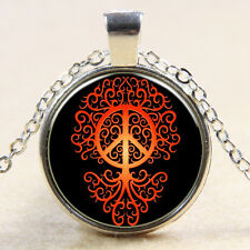Red Peace Sign The Tree Of Life Glass Photo Art Pendant Chain Necklace Mum Gift