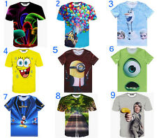 2015 Mens Womens 3D T-Shirt balloon Cartoon Personality Animals scenery Short