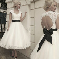 Tea Length Formal Bridal Gowns Lace Backless Ball Gown Short Wedding Dresses