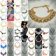New Women's Fashion Crystal Pandent Statament Challor Chunky Long Necklace Gift