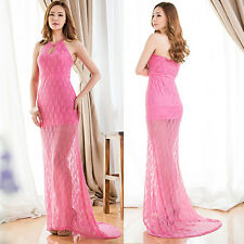 Sexy Women Solid Lace Halter Evening Party Cocktail Full Length Dress Ball Gown